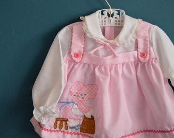 Vintage Baby Girl's Pink and White Shirt with Embroidered Sunbonnet Girl - Size 12 Months