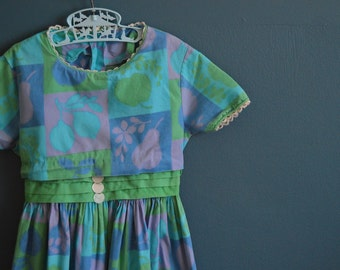 Vintage 1950s Handmade Girl's Dress with Fruit Print - Size 6