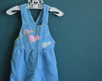 Vintage Baby Girl's Pale Blue Overalls with Pastel Hearts - Size 3-6 Months