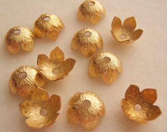 10 -  Raw Brass Bead Caps
