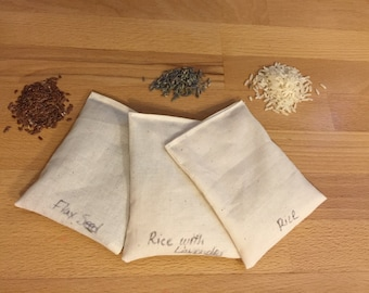 Sample Heating Packs - Set of 3 - Rice, Flax Seed, and Rice with Lavender