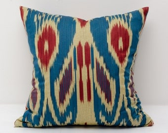 15x15 blue cream red ikat pillow cover, blue pillows, blue cream ikats, blue red, decorative pillow, throw pillow, accent pillow