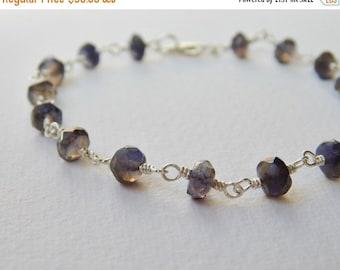 Iolite Bracelet - Sterling Silver Beaded Rosary Bracelet Sapphire Blue Beadwork Bracelet