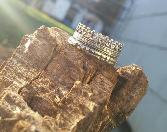 Sterling Silver Crown Ring Sz 6.5 READY TO SHIP