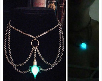 Gothic Glow in the Dark Mana Potion Choker Necklace