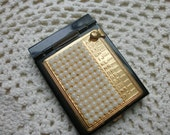 Address Book Small Purse Size Black Metal  Gold Tone Face With Faux Row of Plastic Pearls