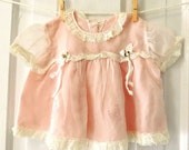 Vintage Newborn Pink and White Baby Dress 1950's 1960's