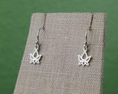 Tiny lotus bud earrings in sterling silver, tiny lotus charms, flower earrings, sterling silver earrings, yoga