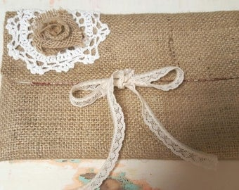 Burlap clutch with toile lining