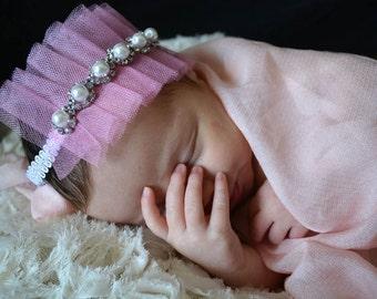 Newborn Lace Crown and Bracelet Set / Ruffled Pink Headbands, Tulle Rhinestone Snow princess Crown, Frozen Party / Disney Tiara Headband