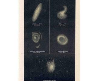 1894 NEBULA STAR CLUSTER lithograph original antique celestial astronomy print