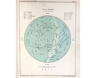 from 1910 JANUARY STAR CHART lithograph - original antique print - celestial calendar month constellation astronomy map - capricorn aquarius