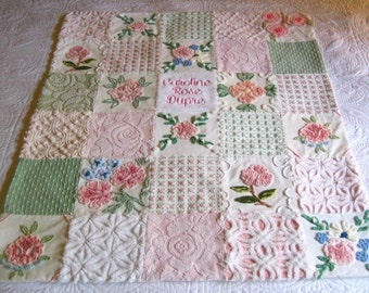 Personalized Vintage Chenille Baby Quilt -  Baby's Breath - Custom - Boutique quality bedding for your little one.