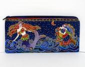 Mermaid Sea Spirits, Zippered Pencil Pouch, Laurel Burch Mermaids