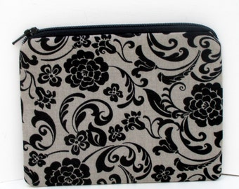 Small Zippered Pouch, Little Black Dress, Gray Notions Bag