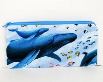 Whale Pencil Pouch, Enchanted Ocean, Long Zipper Pouch
