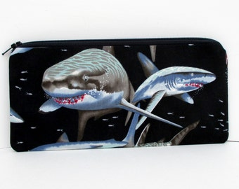 Sharks Zippered Pencil Pouch, Black, Alexander Henry, Great White Shark Jaws
