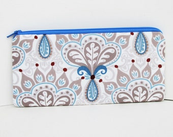 Zippered Pencil Pouch, Thistle Serenade Taupe, Notions Bag, Long Zipper Pouch