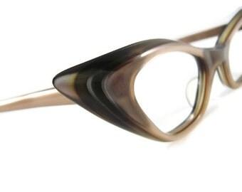 Vintage 50s Olive Cateye Eyeglasses Eyewear Frame NewOldStock
