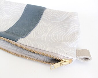 EMILIE Stripe Cosmetic bag, organic cotton and grey
