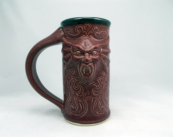 Vampire Coffee - Beer Mug - Ceramic - Hand made - Red food Safe Glaze - BUY ONE NOW!!