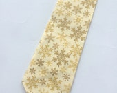 Little Guy Holiday NECKTIE Tie - Gold and Ivory Snowflakes - (2T-4T) - Boy Toddler - (Ready to Ship) Christmas