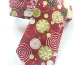 Little Guy Holiday NECKTIE Tie - Burgundy Circle Snowflakes - (2T-4T) - Boy Toddler - (Ready to Ship) Christmas