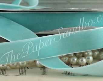 """Robin Egg Blue Velvet Ribbon, 3/4"""" wide by the yard, Robin Egg Blue Velvet Trim, Gift Wrapping, Weddings, Velvet Chokers, Velvet Bookmarks"""