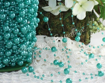 Teal Pearl String Beads, Beads by the yard, Teal Beads, Teal String Beads, Teal Acrylic Beads, Beach Wedding, Gift Wrapping, Party Supplies