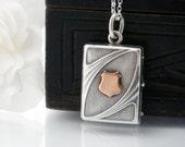 Antique Locket | Edwardian 800 Silver Book Locket | Art Nouveau Locket Jugendstil Rose Gold & Silver - 51cm / 20 Inch Sterling Silver Chain