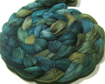 Merino wool & tussah silk hand dyed roving - hand painted spinning and felting fiber - 4.7 oz Clear Lake - combed top - aqua green wool top