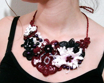 Beaded lace necklace Black Burgundy Statement Bib Necklace unique Handmade jewellery