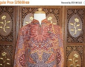ON SALE 1970s FRANK Usher Batik Printed Cheongsam Dress sz 12