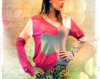 Upcycled Cashmere Sweater Pink Mauve Lilac Jigsaw Jumper                      HandMade in England UK