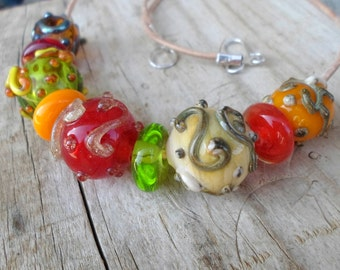 Lampwork Necklace, Hollow Glass Beaded Necklace, Handmade Jewelry,  Handmade Glass Lampwork Jewelry Gift for Her