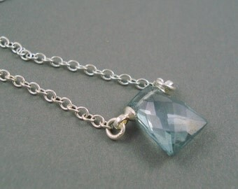 Blue Quartz Necklace, Single Gemstone Minimal Necklace with Sterling Silver 16 Inch Chain