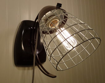 Industrial WALL MOUNT Plug In Light with CAGE, On/Off Switch & Edison Bulb