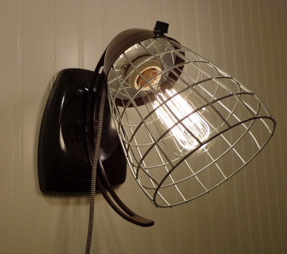 industrial wall mount plug in light with cage on off switch. Black Bedroom Furniture Sets. Home Design Ideas