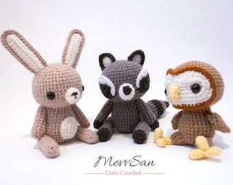 Crochet Woodland Critters PATTERN BUNDLE 1 - Amigurumi Bunny Rabbit, Raccoon, Owl Plush Dolls