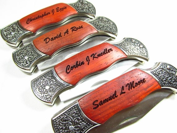 Wedding Keepsake - Set of 6 Personalized Engraved Knives Pocket Hunting Knife Groomsman Gift Groomsmen Knives Best Man Gift Knife Rosewood