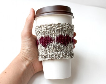 Wool Coffee Sleeve, Fall Gift, Eco Cup Cozy, Reusable Cup Collar, Knitted drink cozy, Summer gift, small gift, cute gift, Gift for Her
