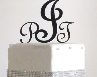 ON SALE Three Letter Monogram Cake Topper for Wedding Cake Black or Silver or Gold