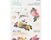 Heidi Swapp Memory Planner Clear Stickers • Floral Sticker • Gold Foil Sticker (312575)