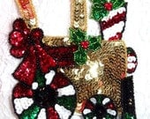"""Christmas Train Applique Beaded Sequin Patch Peppermint Holiday 5.5"""" (0296)"""