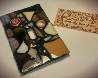 Earth Tone Mix - STAINED GLASS MOSAIC Light Switch Cover - single, double, triple, outlet, or decora gfci - Made to order