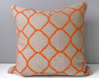 Sale - Geometric Outdoor Pillow Cover, Modern Beige Orange Throw Pillow Case, Decorative Lattice, Ogee Sunbrella Cushion Cover, Mazizmuse