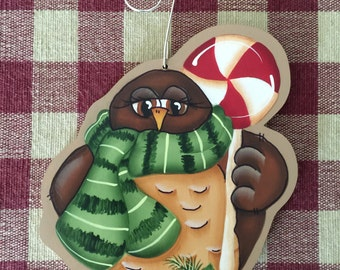 Brown Owl Holding Candy Cane Lollipop Hand Painted Wood Christmas Ornament