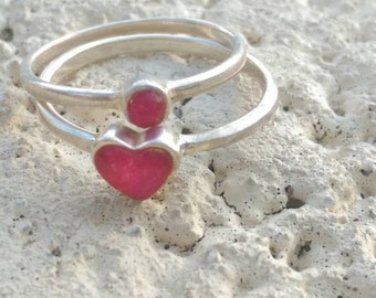 Vinatge Valentine's Day Heart ring ~ Set of two Ruby and 925 stackable rings, hand made one heart and one round Size 7 3/4