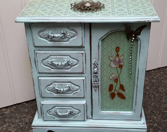 BLUE Jewelry Box Shabby Chic Hand Painted with French Decoupage Papers Perfect Valentines Day Gift