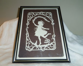 """Paper Silhouette Picture Handcut in 1985 Girl and Bunny Shadow Cutting 9"""" x 12"""""""